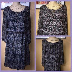 Semi-Sheer Blouson Midi Dress